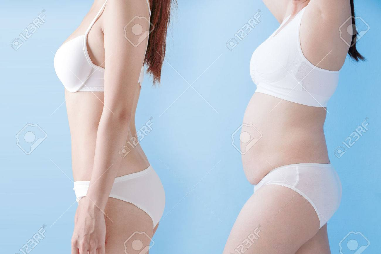 fat overweight woman and slim woman isolated on blue background, asian Standard-Bild - 66848377