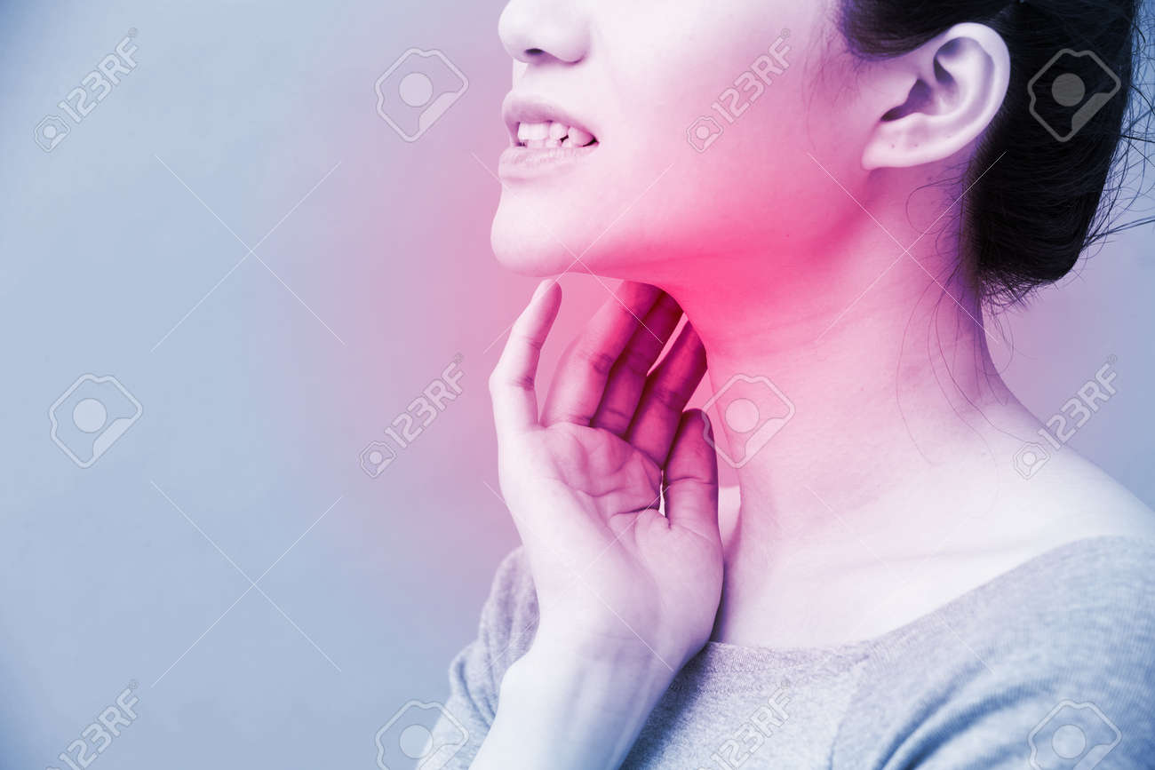 women with thyroid gland problem on the blue background - 98377224