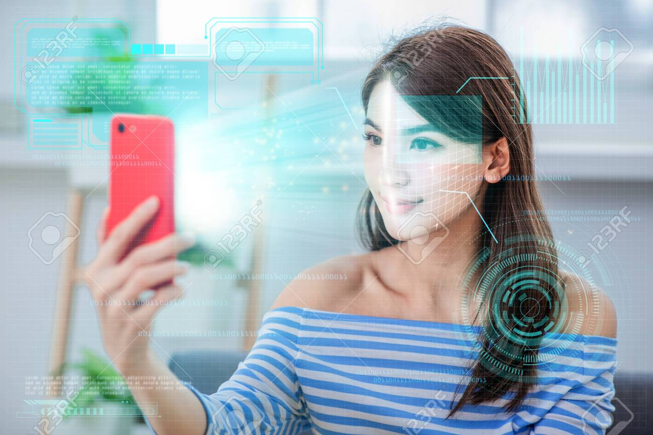 face recognition concept - Asian girl use biometric access by smartphone - 121836411