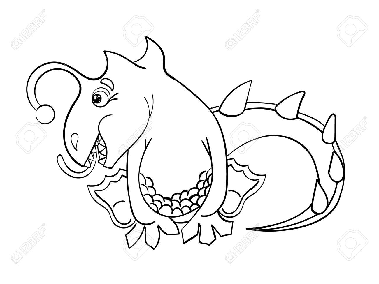Coloring Book Without Color Dragon Isolated On White Background ...