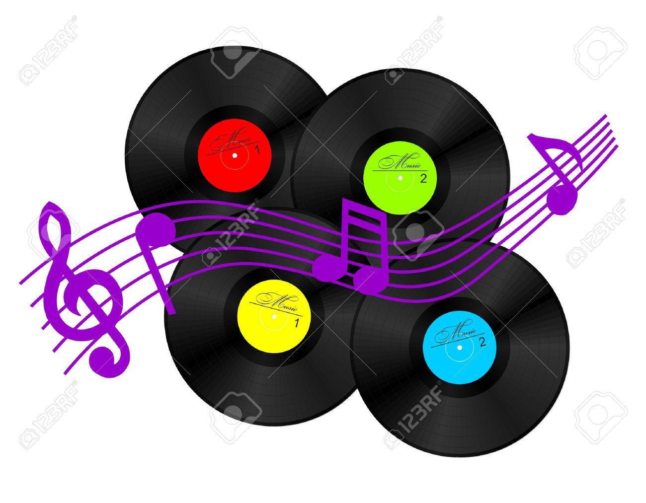 15834501-4-discos-de-vinilo-y-algunos-signos-musicales-vector-clipart-Foto-de-archivo