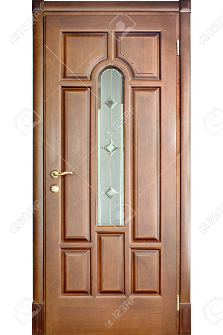 Stock Photo   Wooden Interior Door Of Cherry Wood With Brass Handle And  Insets Of Frosted And Mirror Glass With Geometric Ornament Isolated On  White ...