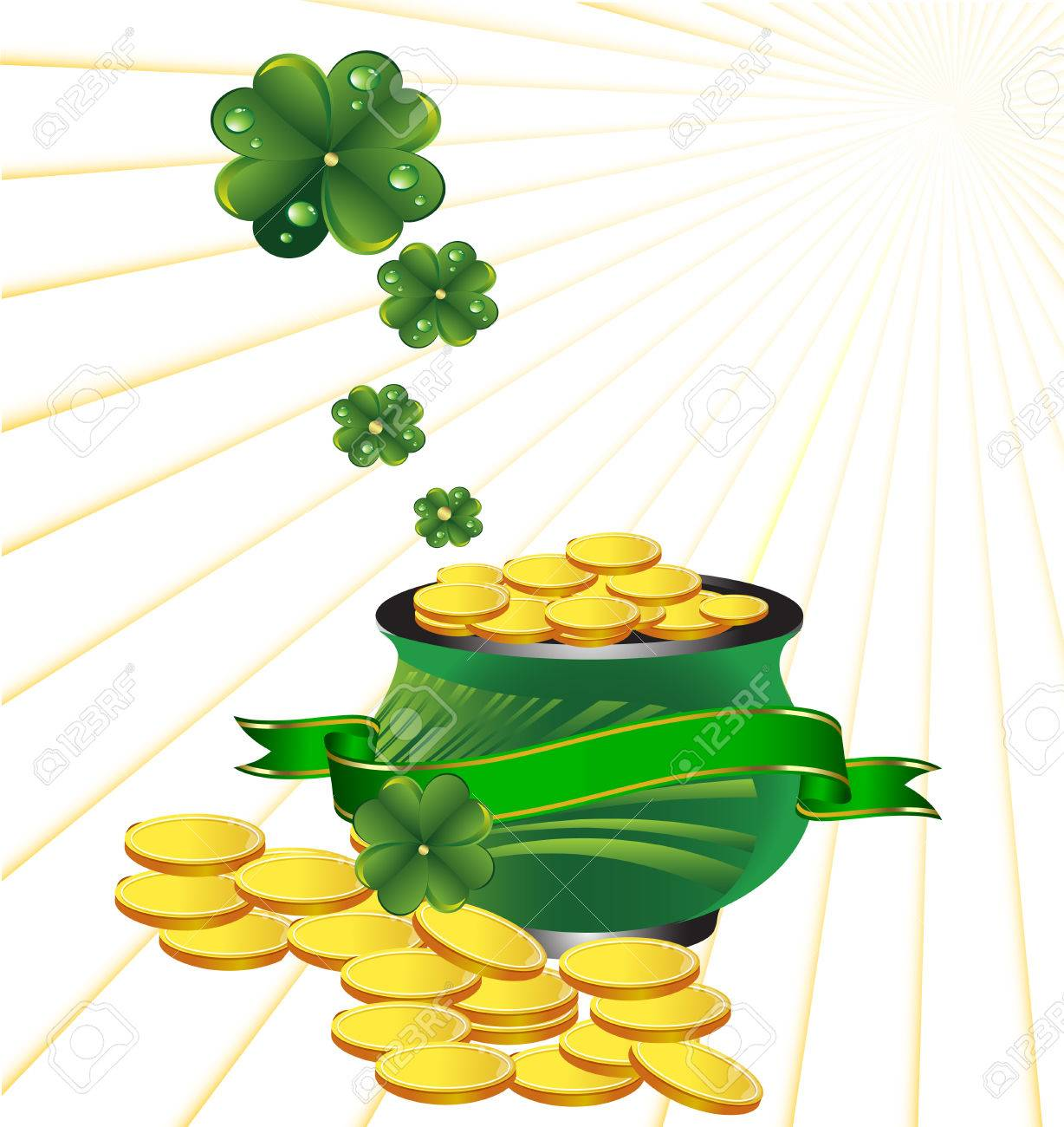 Pot with gold to St. Patrick's Day Stock Vector - 8823699
