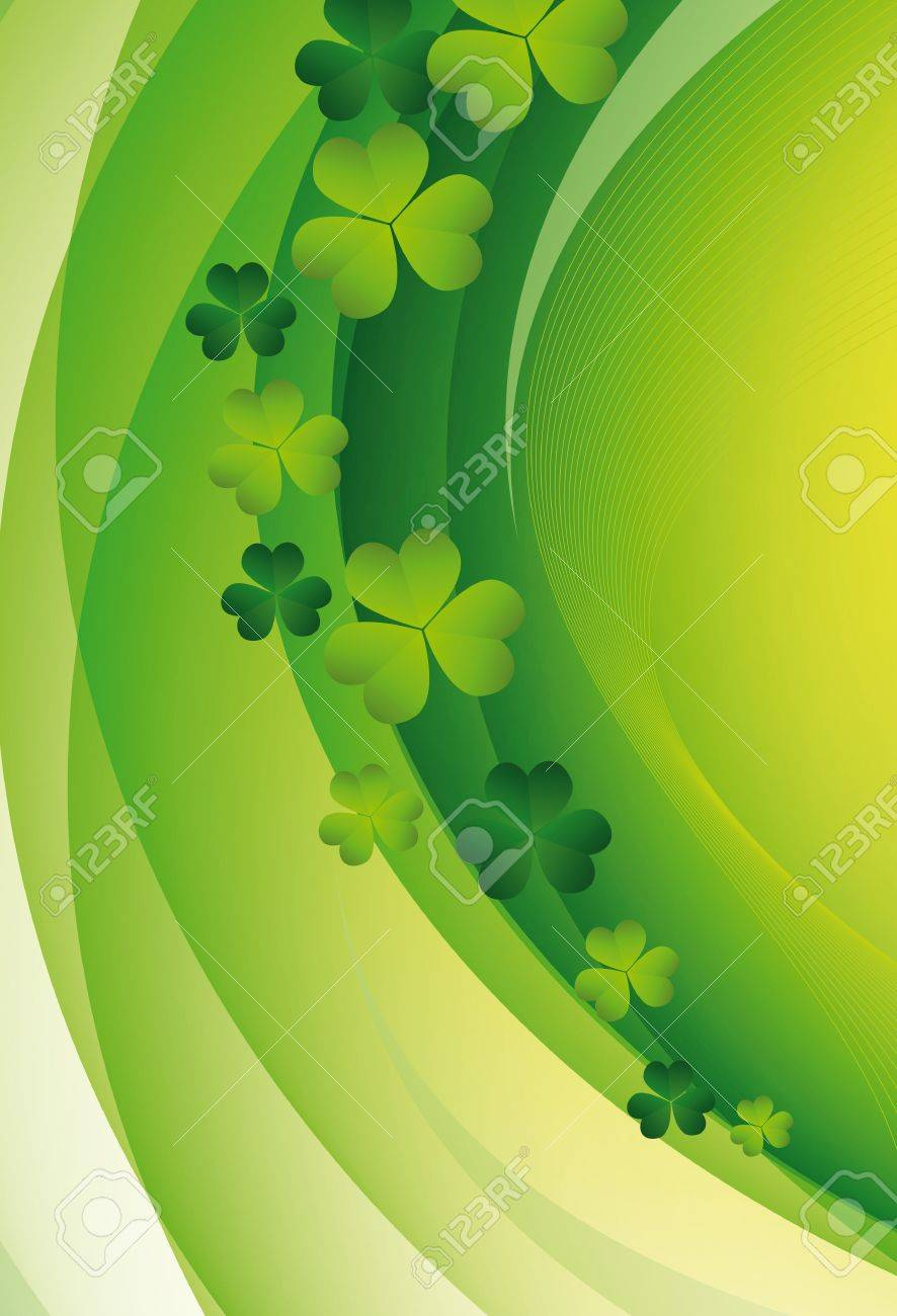 Green clover in sun beams. St. Patrick's Day Stock Vector - 12484609
