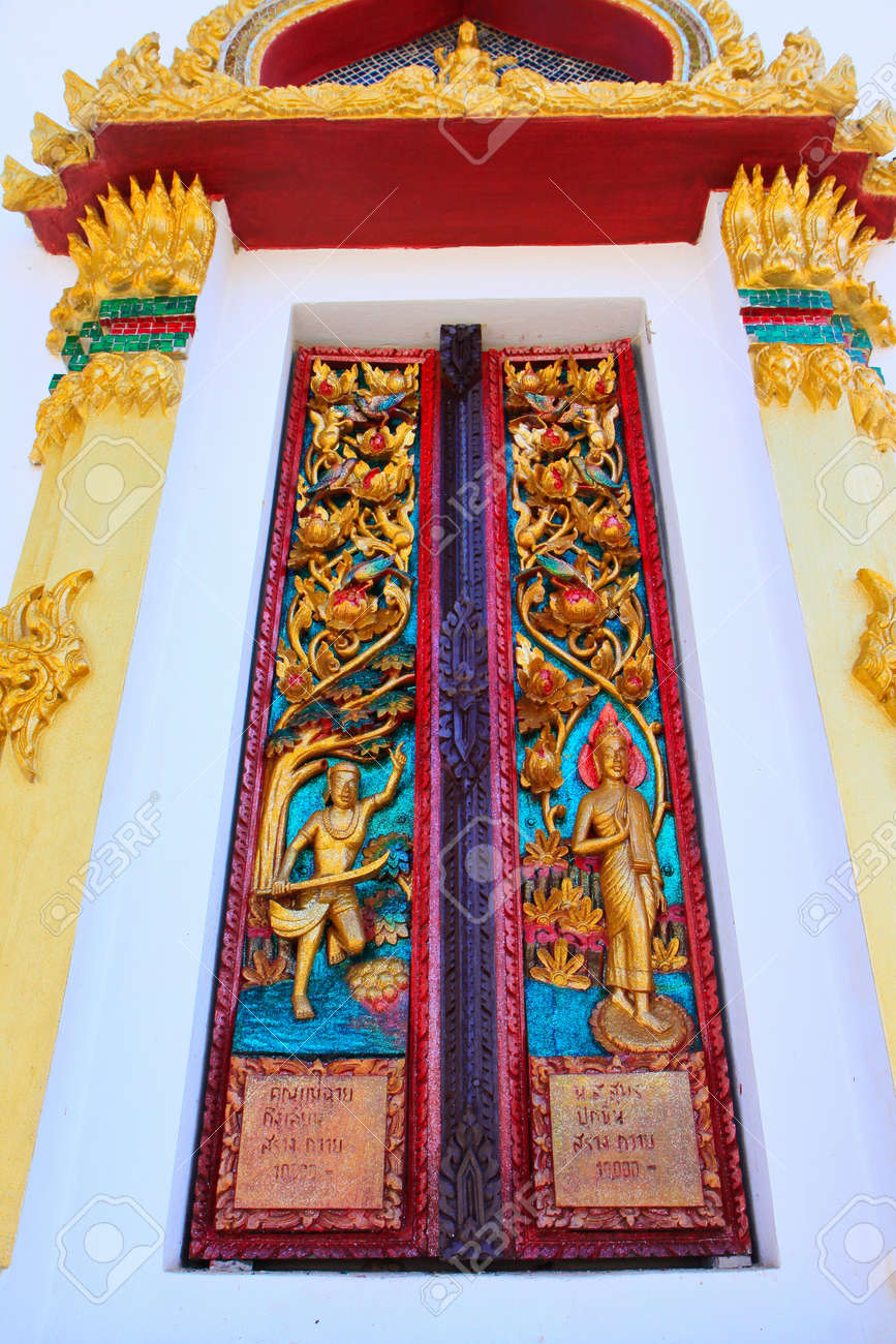 Art buddhist door of temple at Chiang Khan in Thailand Stock Photo - 21058357 & Art Buddhist Door Of Temple At Chiang Khan In Thailand Stock Photo ...