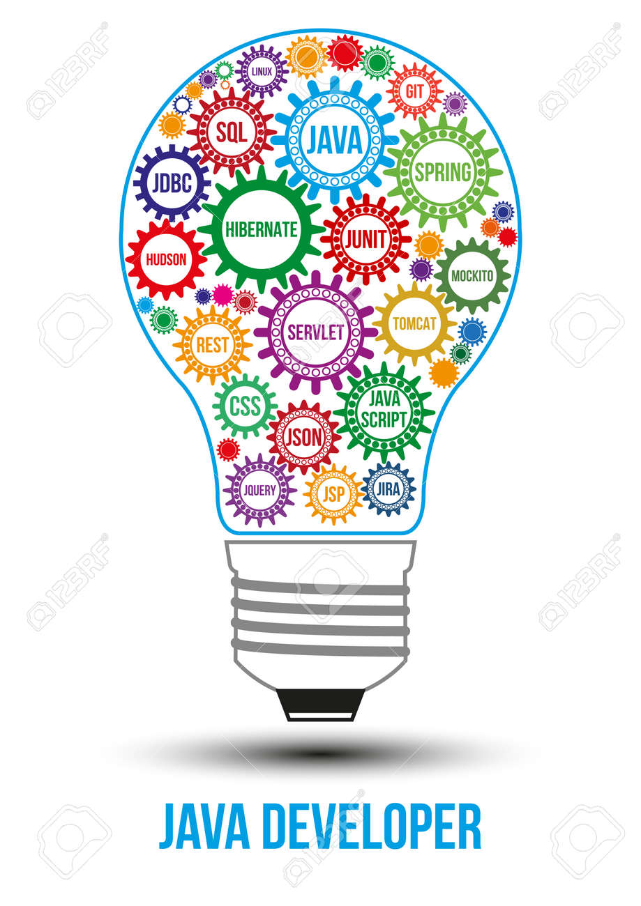 Interconnected Colored Java Technology Gears Composed In Form Of Light Bulb To Symbolize Idea Collaborative