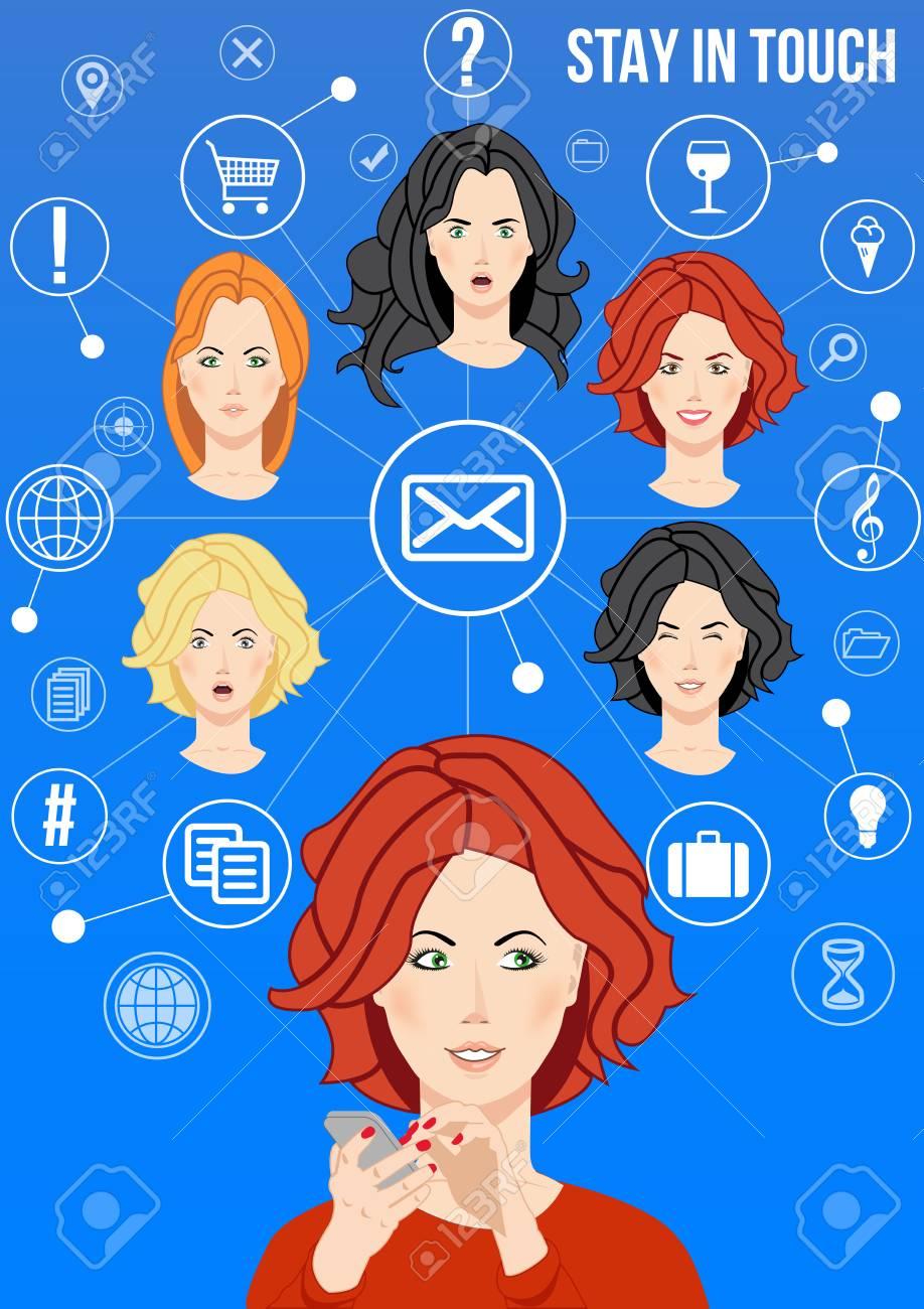 Bleiben Sie In Kontakt Design Konzept Schöne Frauen Verbindet Mit