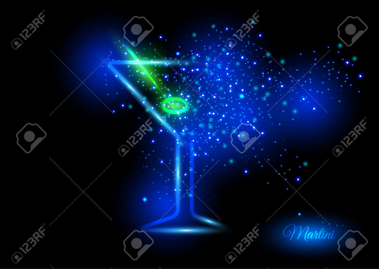 Martini with olive design concept - cocktail glass with lime bursting into shining lights of green and blue shades. Shining concept of fun and nice time on crazy party. - 50097000