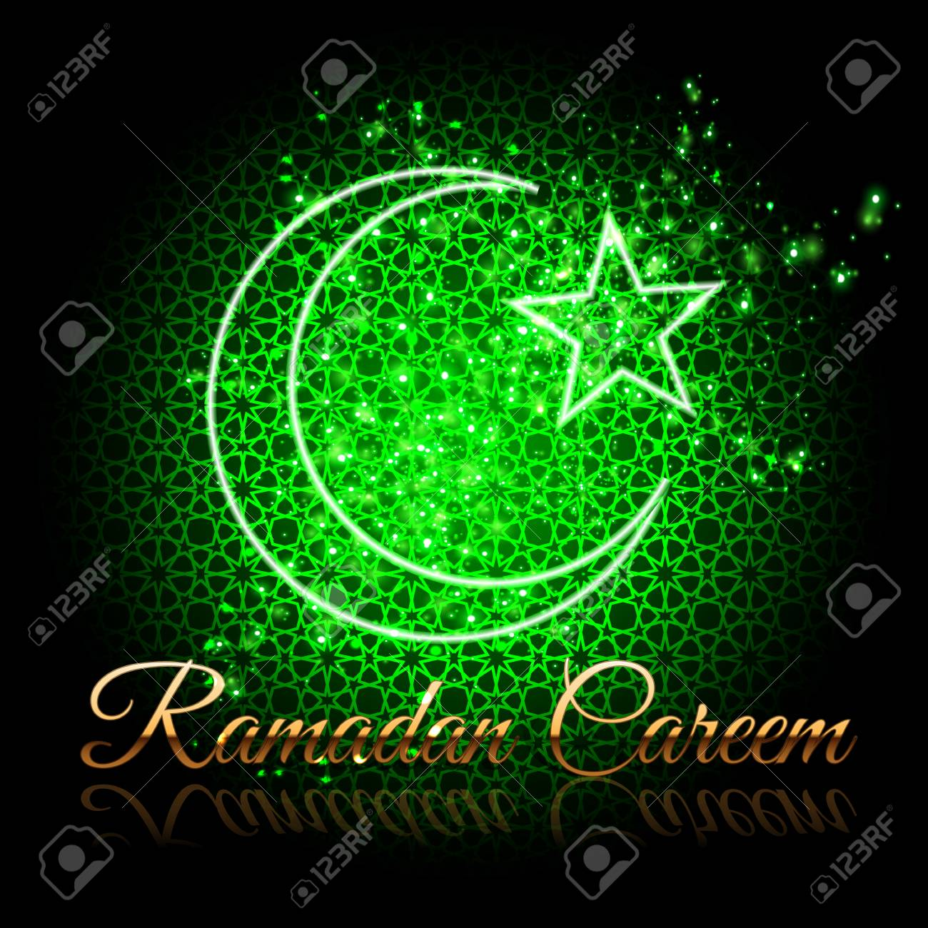 Ramadan Kareem Beautiful Greeting Card Crescent And Star On