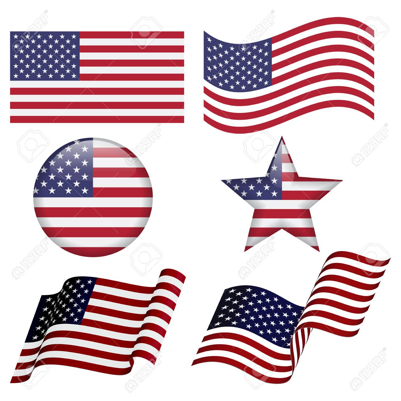 set of usa flag designs isolated on white background flat usa rh 123rf com US Flag Vector Graphic Texas Flag Vector