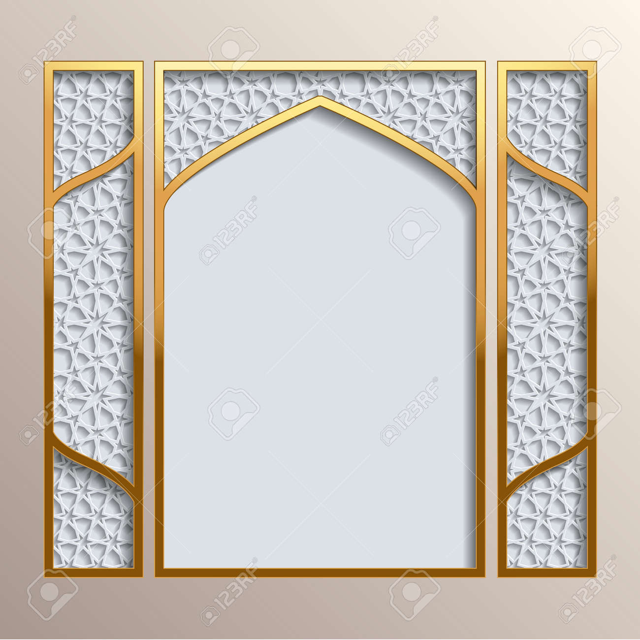 Islamic greeting card golden frame with 3d background with islamic greeting card golden frame with 3d background with different girih patterns greeting card kristyandbryce Image collections