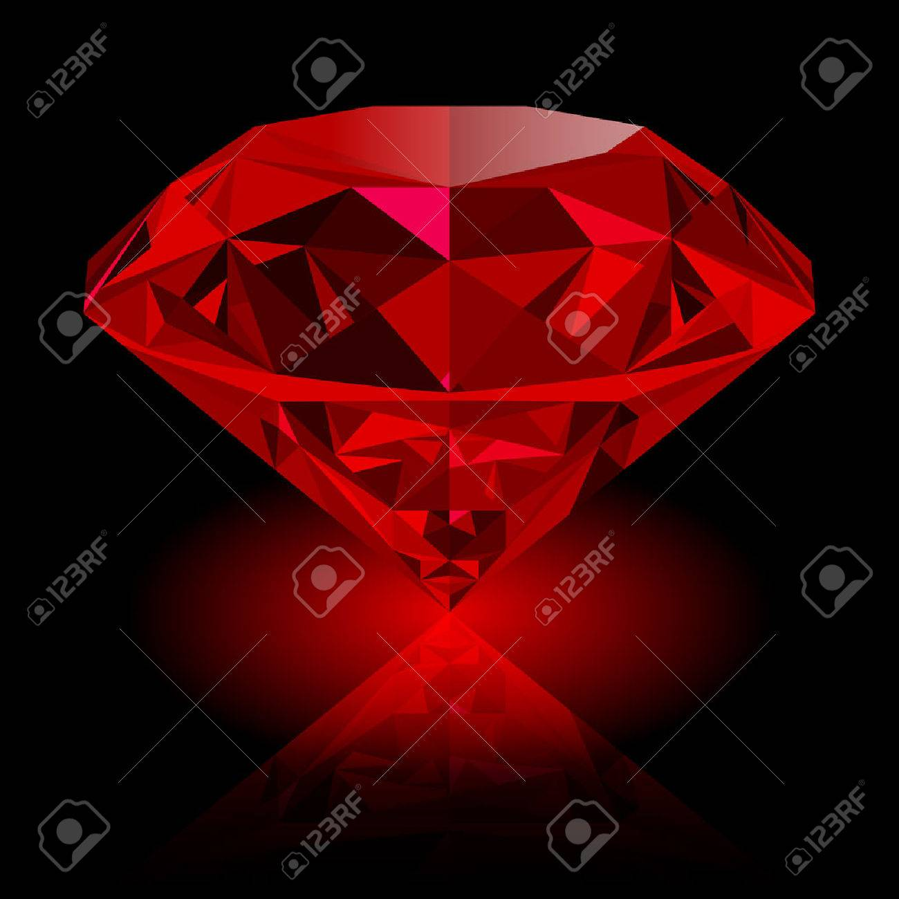 Realistic red ruby with reflection and red glow isolated on black background. Shining red jewel, colorful gemstone. can be used as part of icon, web decor or other design. - 64720835