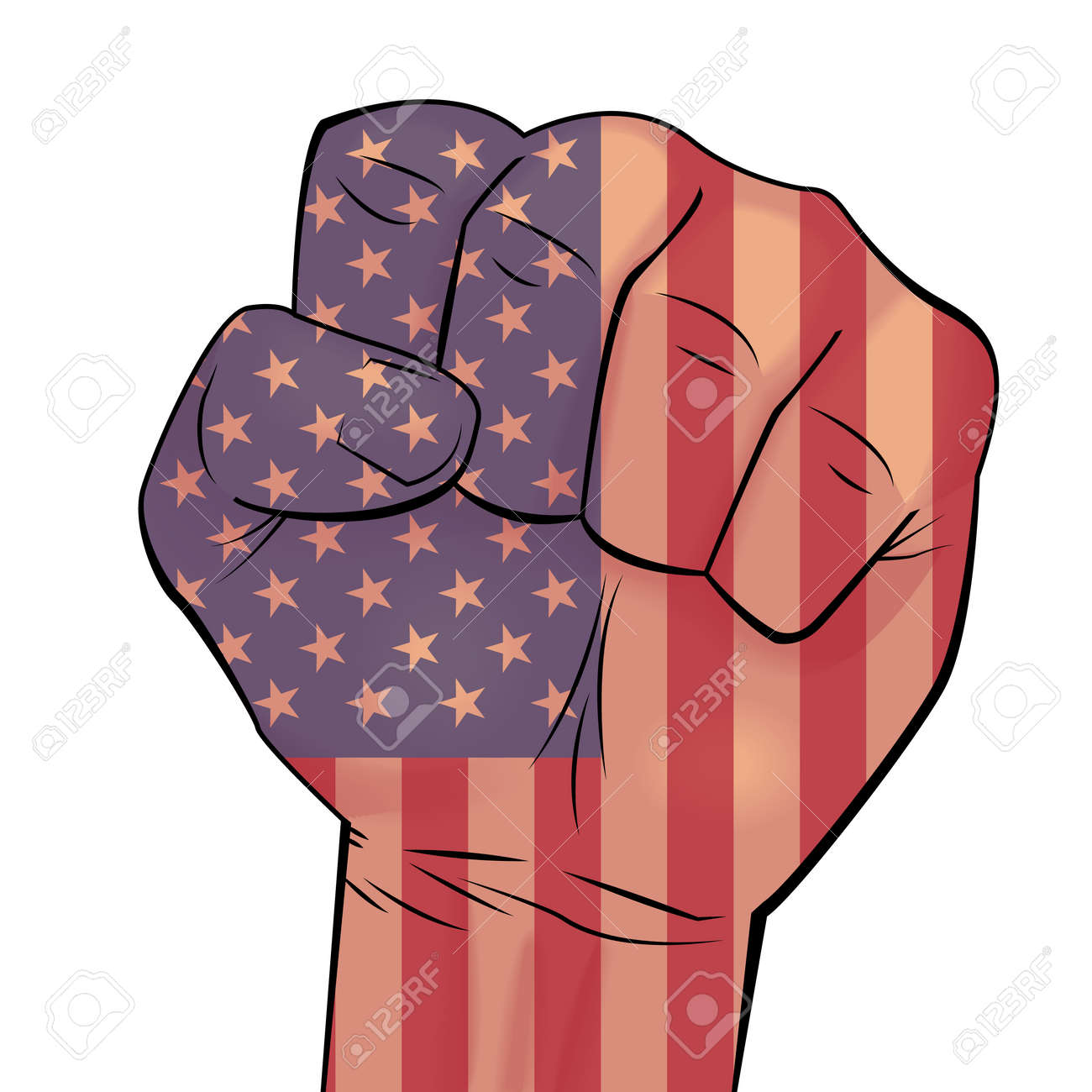 Man hand squeezed in fist with USA flag background. Can be used for business identity, print products, page and web decor, signs, placards, backgrounds or other design. Vector illustration. - 64720883
