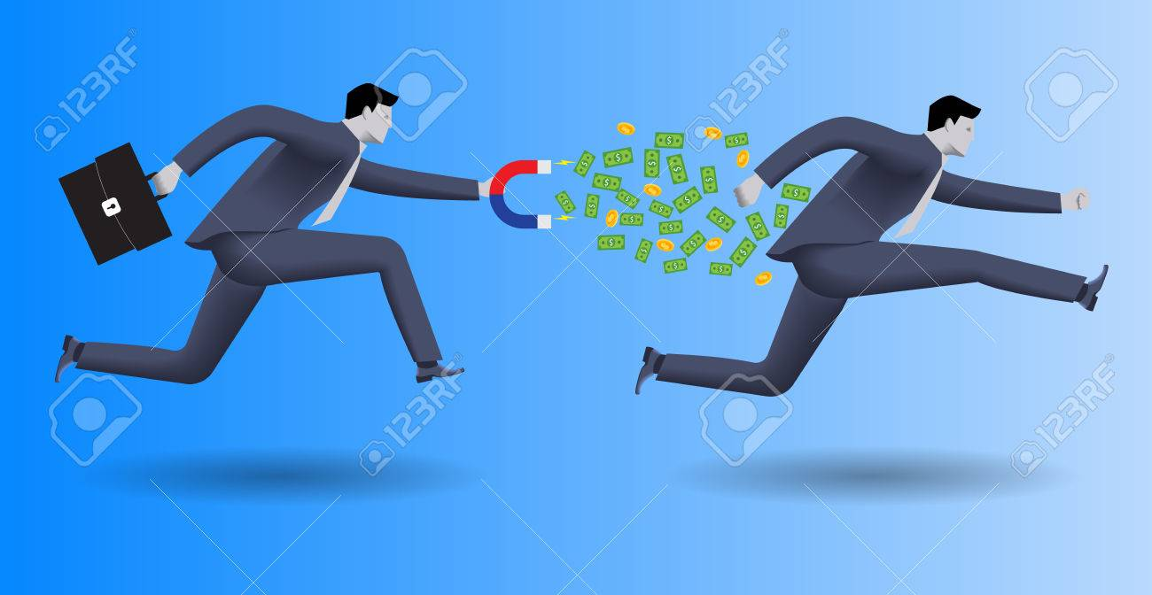 Debt collector business concept. Confident businessman in business suit with magnet in one hand and case in other chases another businessman and pulls money out of him. - 64720894