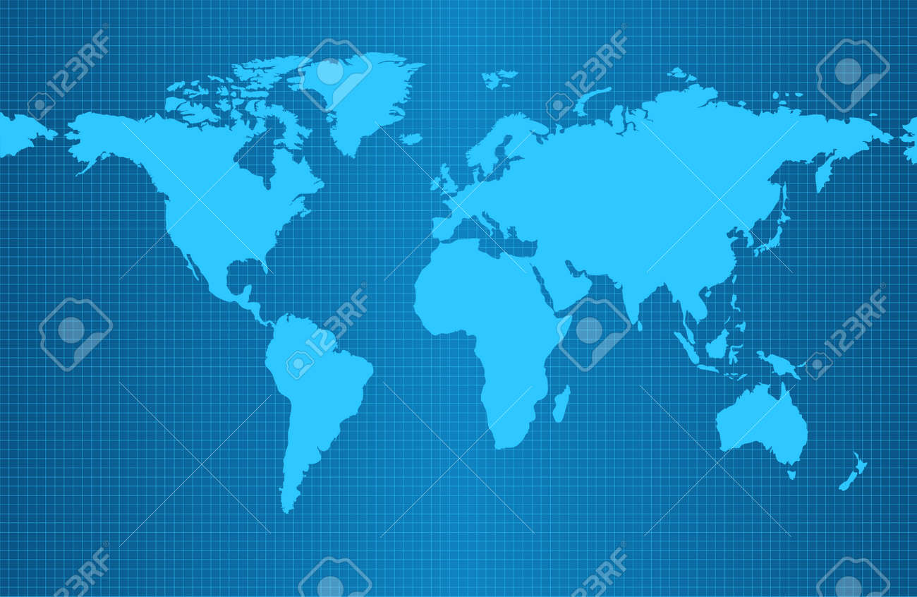 Australia Map Grid.Earth Map On Blue Gradient Background With Grid And All Major