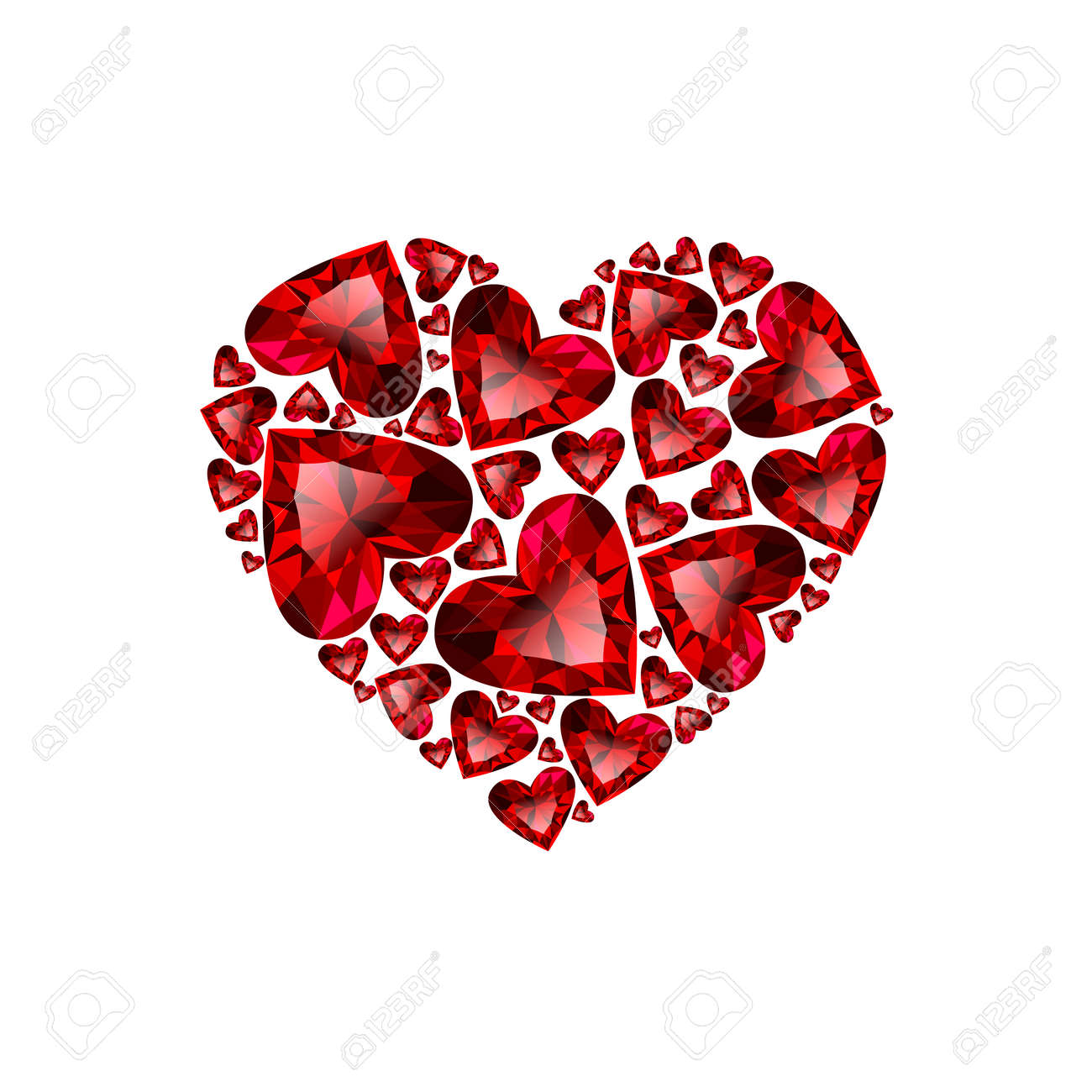 Happy Valentines Day Vector Card Beautiful Heart Composed From