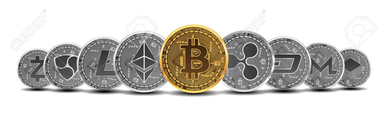 Set of gold and silver crypto currencies with golden bitcoin in front of other crypto currencies as leader isolated on white background. Vector illustration. Use for logos, print products - 91688097