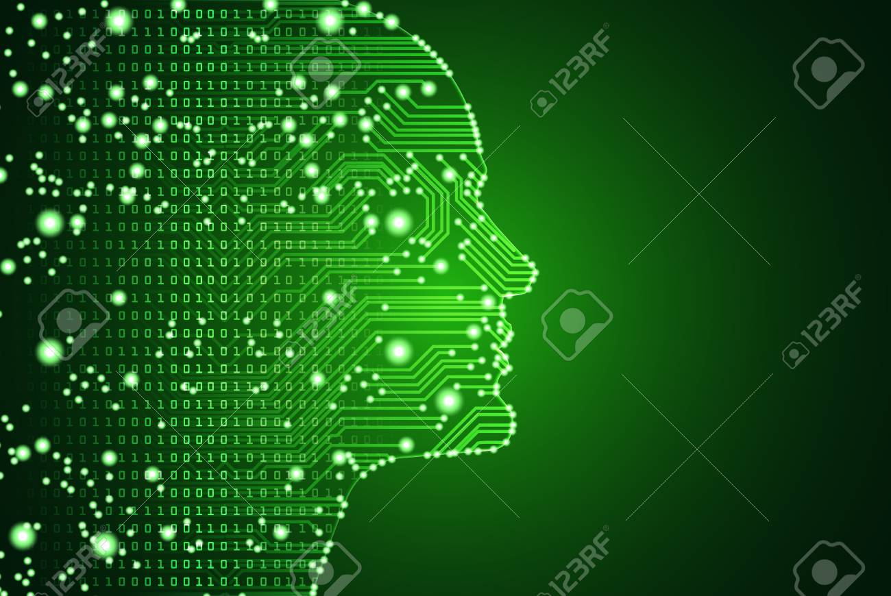 Big data and artificial intelligence concept. Machine learning and cyber mind domination concept in form of men face outline outline with circuit board and binary data flow on green background. - 101054323