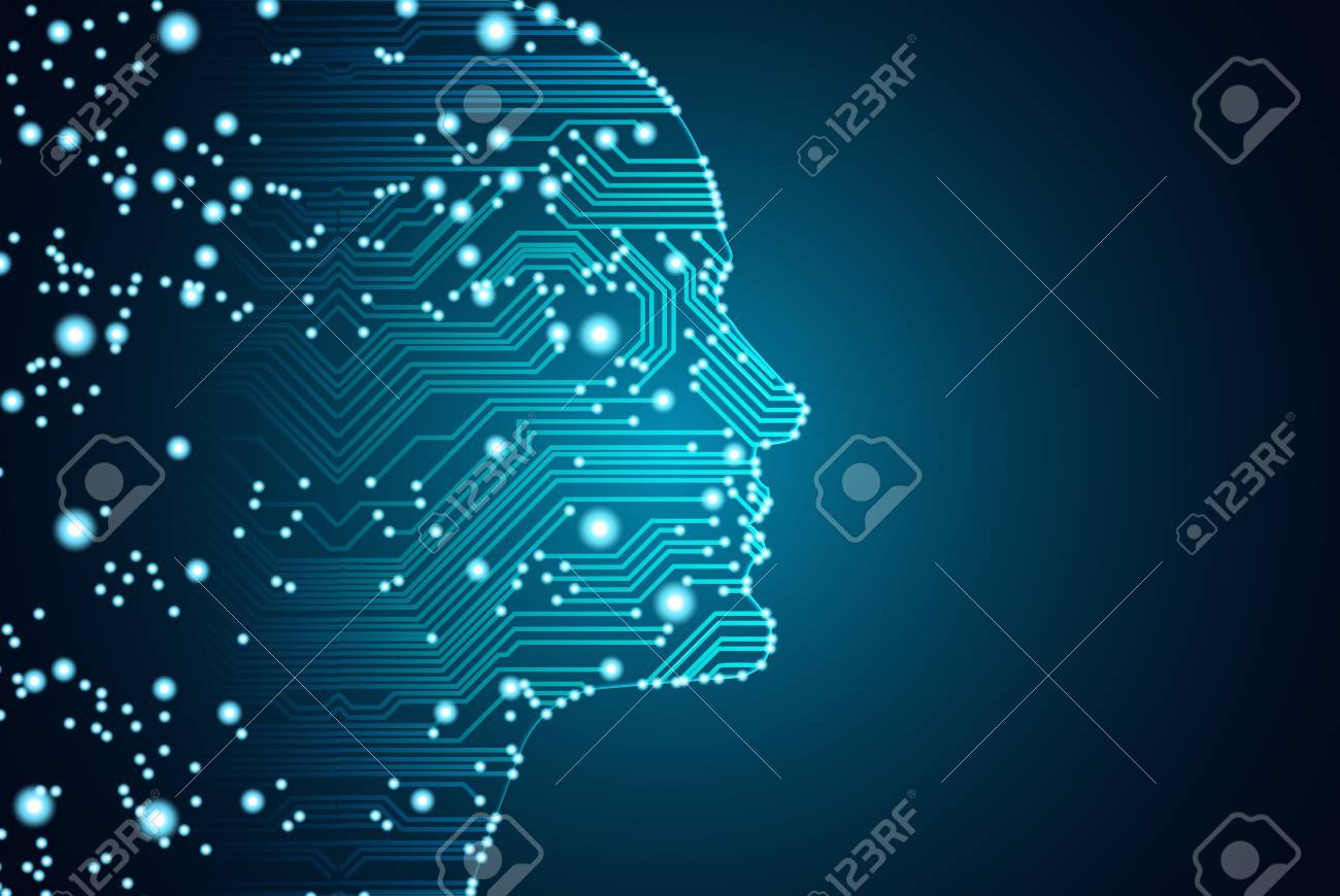 Big data and artificial intelligence concept. Machine learning and cyber mind domination concept in form of men face outline outline with circuit board and binary data flow on blue background. - 100913722