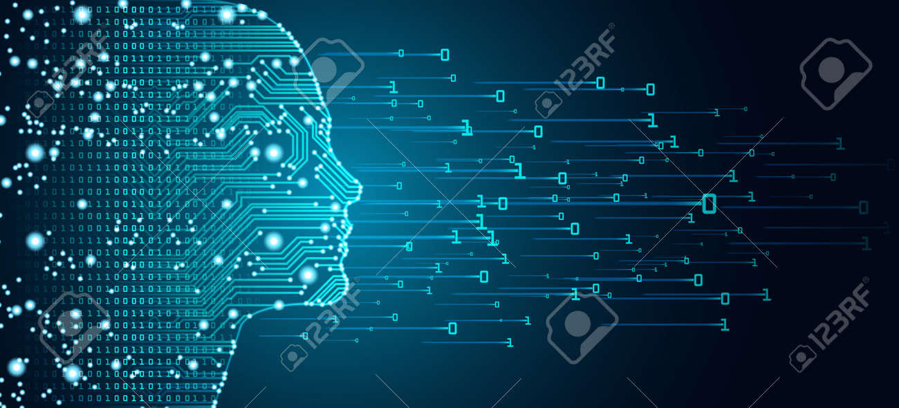 Big data and artificial intelligence concept. Machine learning and cyber mind domination concept in form of women face outline outline with circuit board and binary data flow on blue background. - 103837976