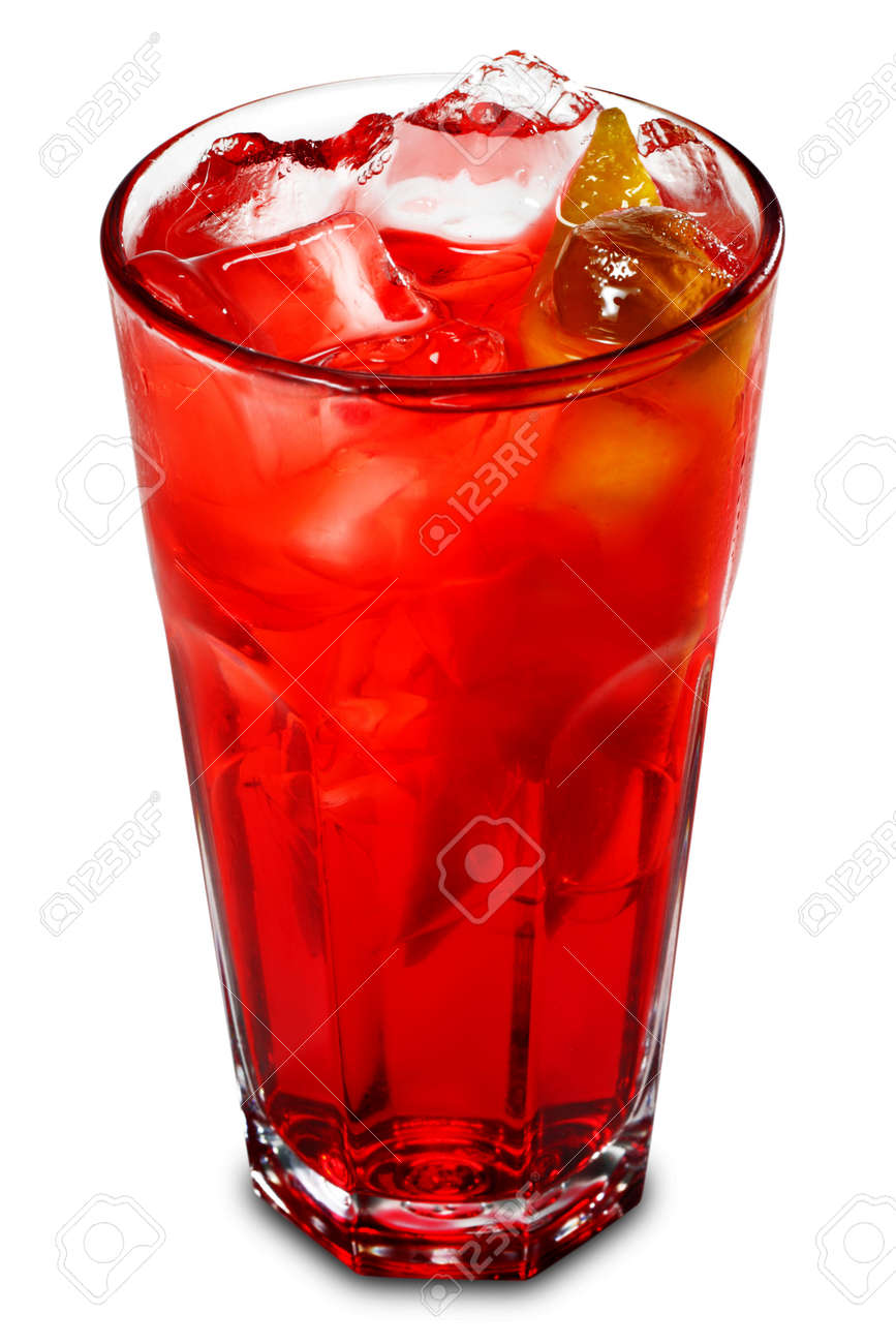 Red Energy Alcoholic Cocktail with Grenadine Syrup and Lemon Fresh. Isolated on White Background Stock Photo - 4074314