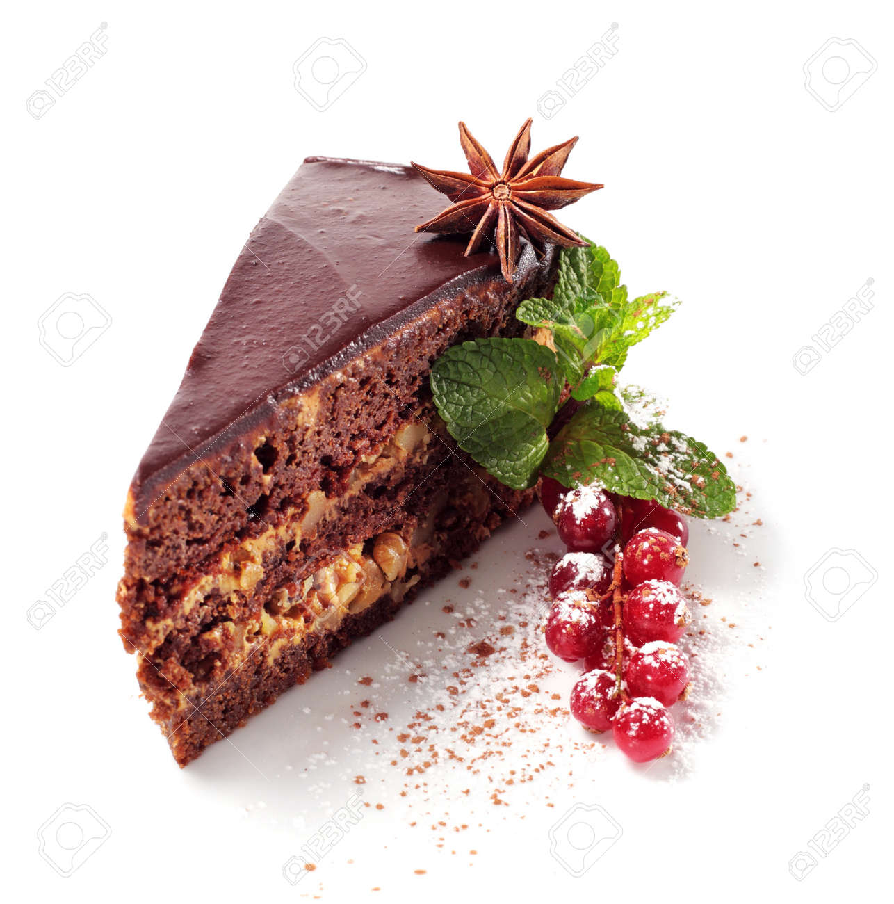 Chocolate Iced Pie with Anise, Fresh Berries and Mint. Isolated on White Background Stock Photo - 4383100