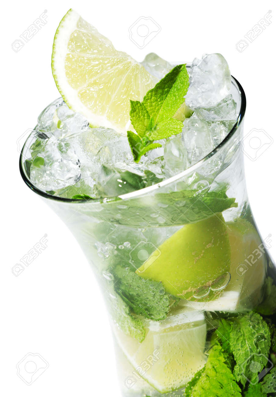 Cocktail - Mojito with Fresh Mint and Lime Slice Stock Photo - 5123285