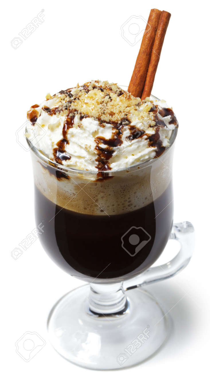 Warm Drink - Chocolate with Rum and Coffee. Served with Whipped Cream and Cinnamon Stick and Nuts Stock Photo - 5883576