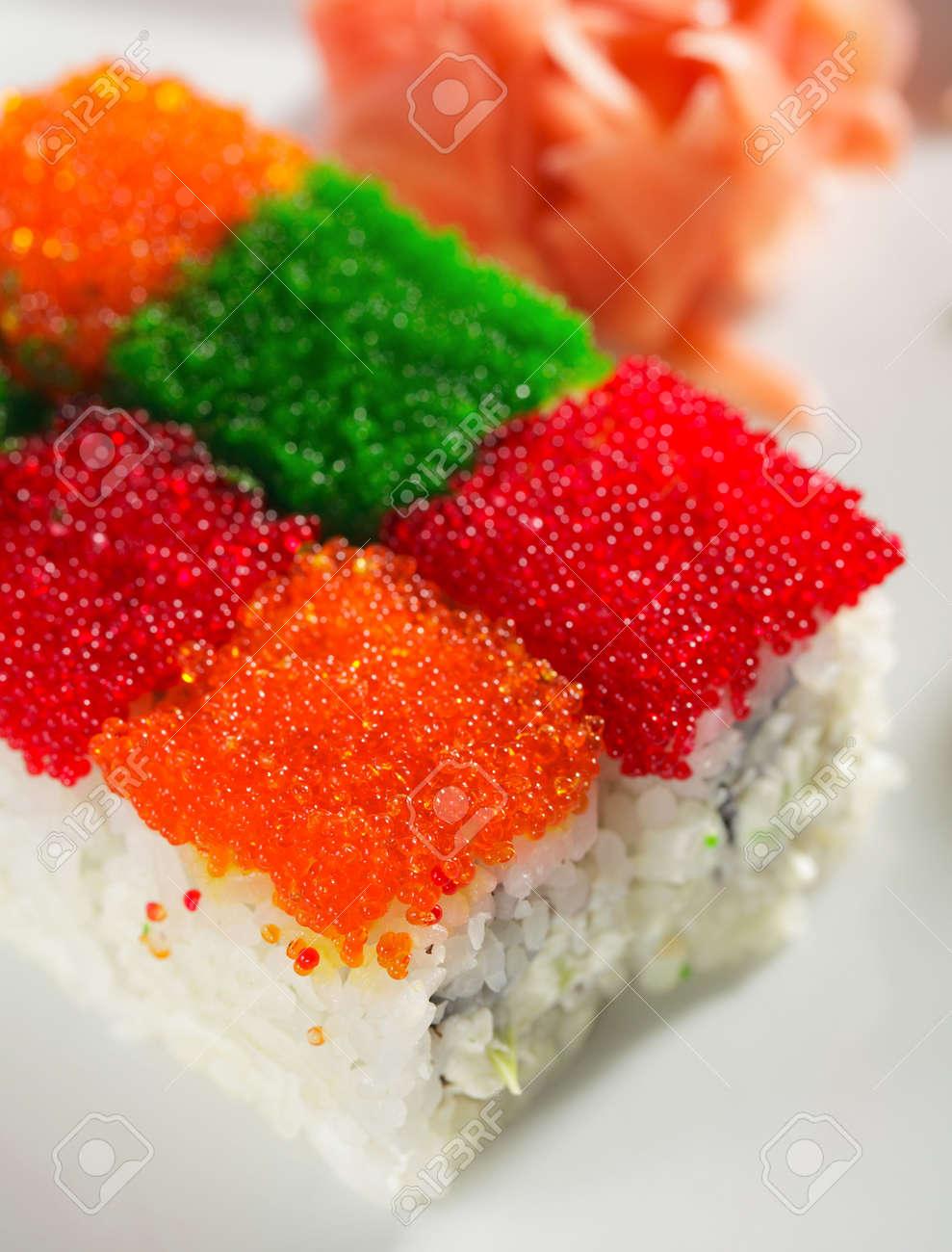 Tobiko Rainbow Maki Sushi - Roll with various type of Tobiko
