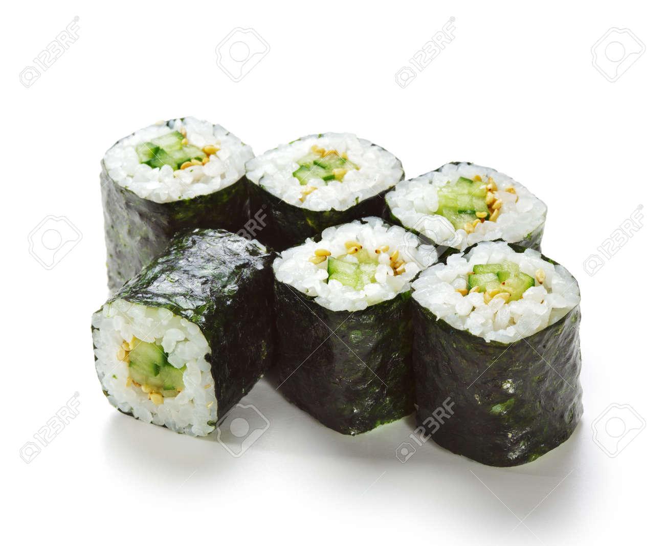 Kappamaki - Cucumber Sushi Roll. Isolated over White Stock Photo - 5925161