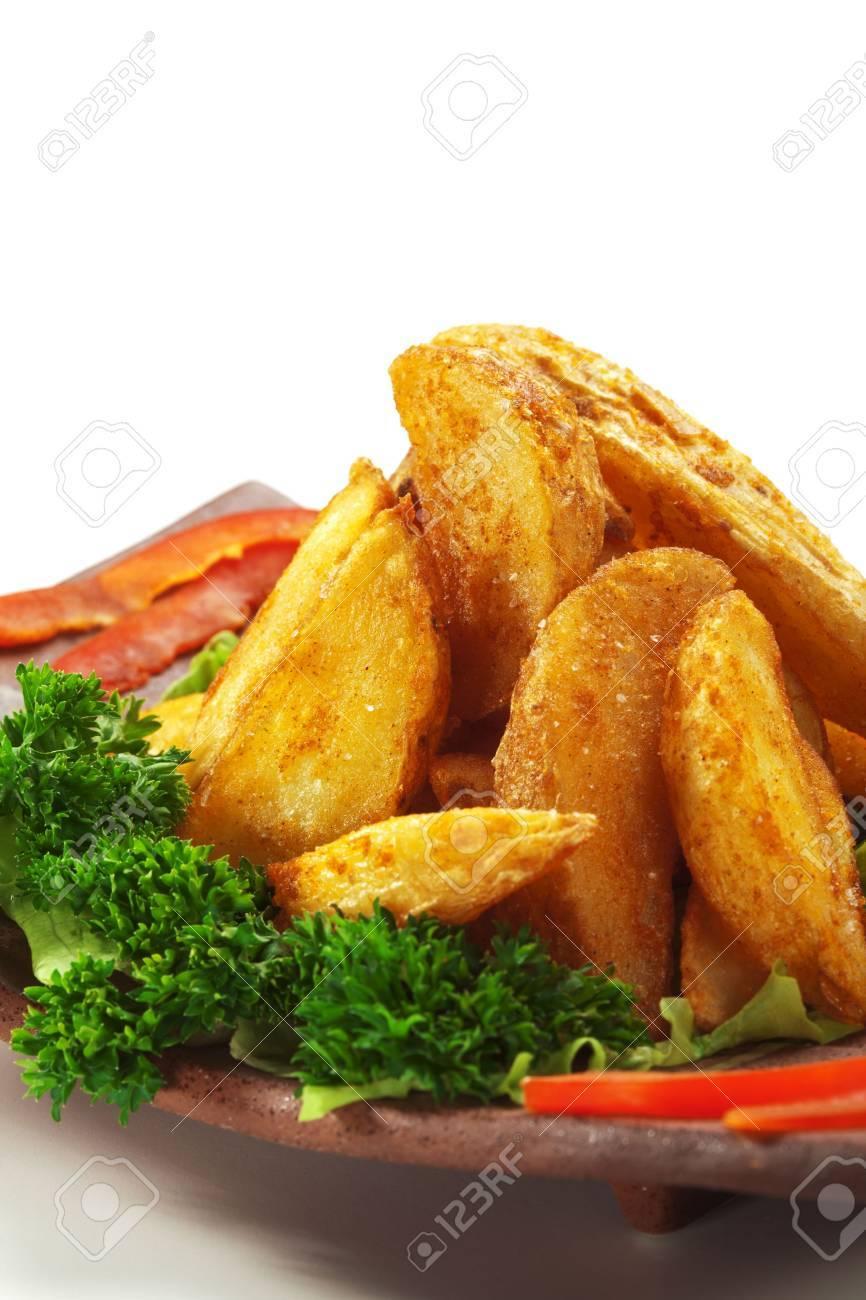 Deep Fried Potatoes Deep Fried Potato Garnished on