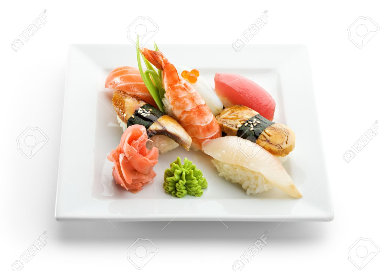 7317002 Seafood Plate Sushi with Wasabi and GInger Stock Photo