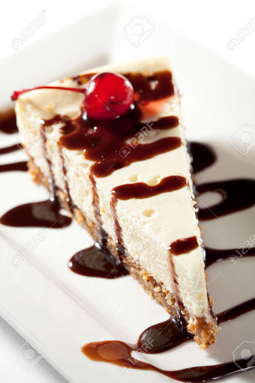 Cheesecake with Chocolate Sauce and Cherries Stock Photo - 7772927