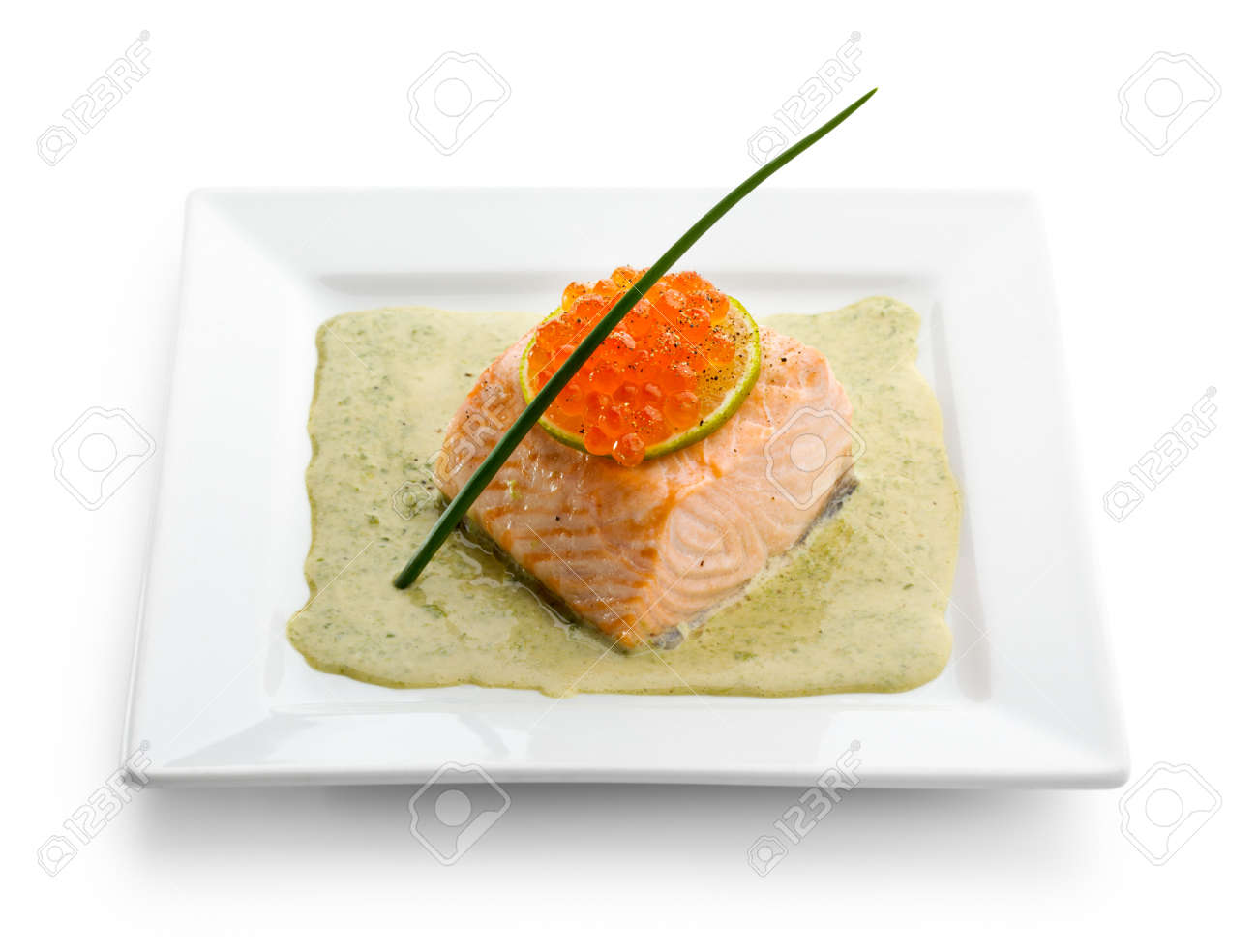 Salmon Fillet in Cream Sauce with Salmon Roe Stock Photo - 7772695