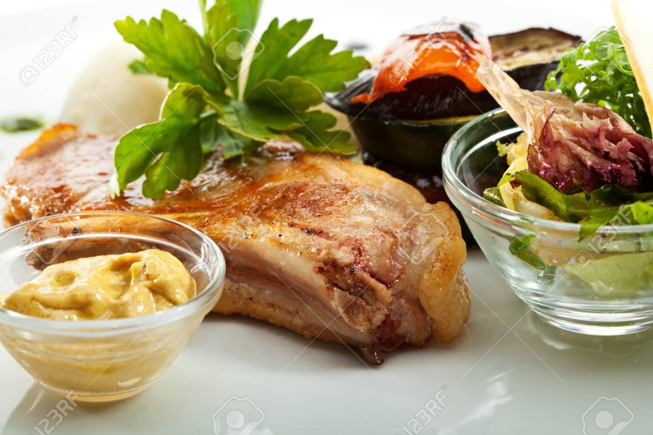 Pork with Mashed Potato and BBQ Vegetables Stock Photo - 19101473