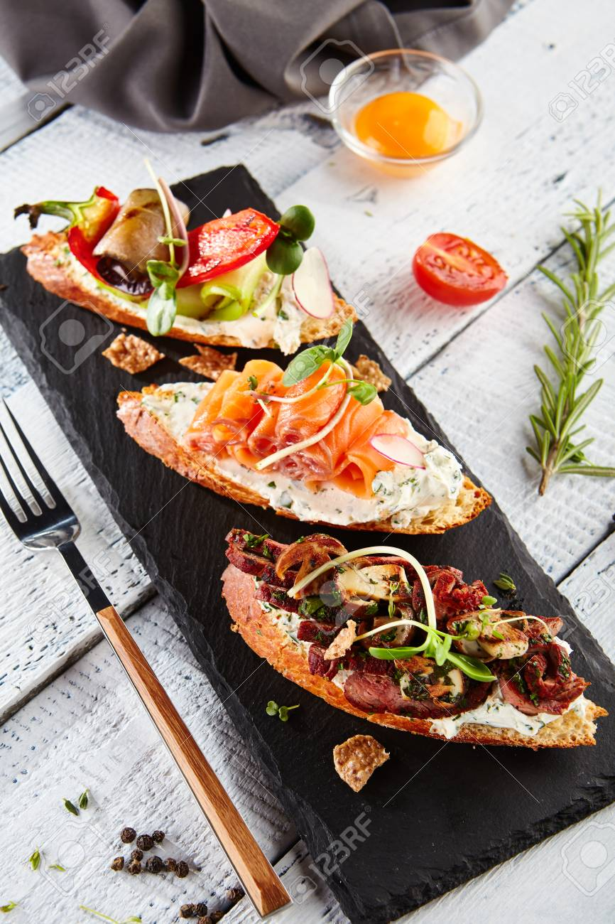 Restaurant Food Delicious Various Bruschetta Gourmet Italian Stock Photo Picture And Royalty Free Image Image 74123857