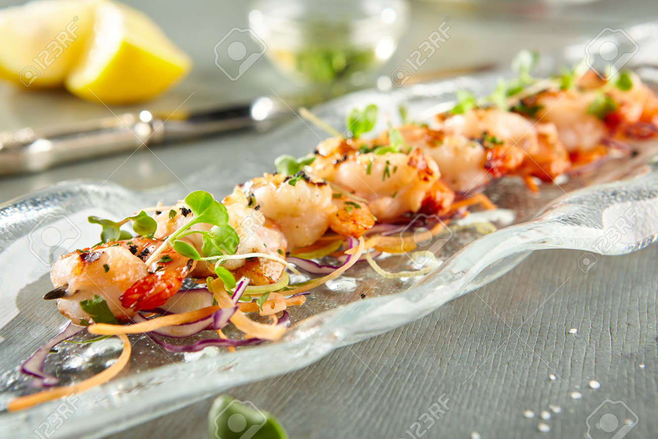 Restaurant Food Delicious Tiger Prawn Gourmet Restaurant Appetizers