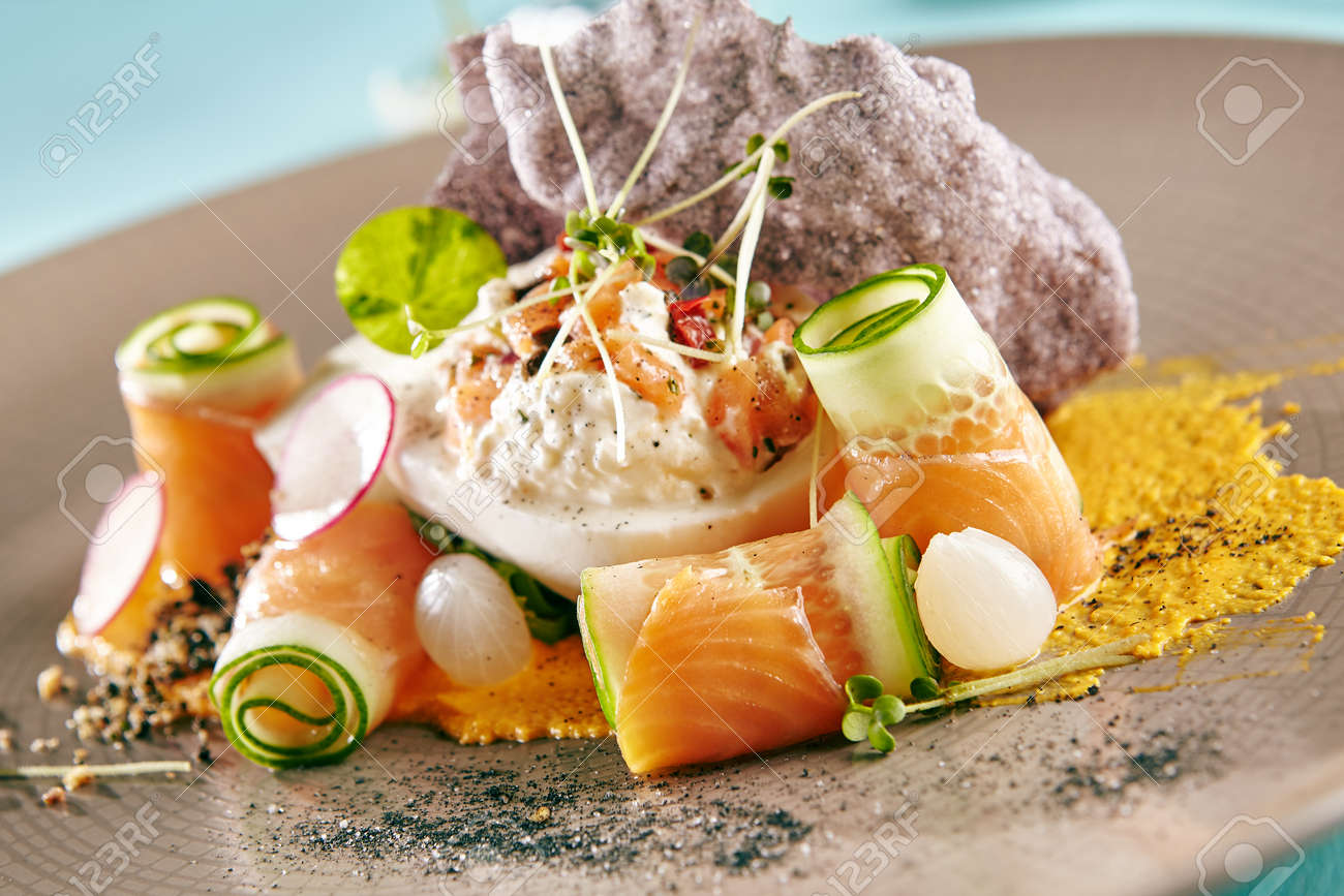 Restaurant Salad Food Delicious Salad With Smoked Salmon And