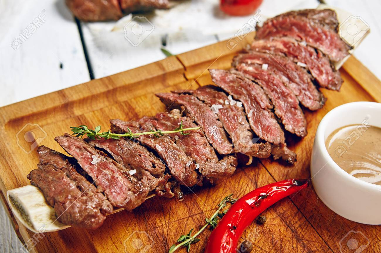 Gourmet Grill Restaurant Beef Steak Menu Skirt Steak On Wooden Stock Photo Picture And Royalty Free Image Image 87431580