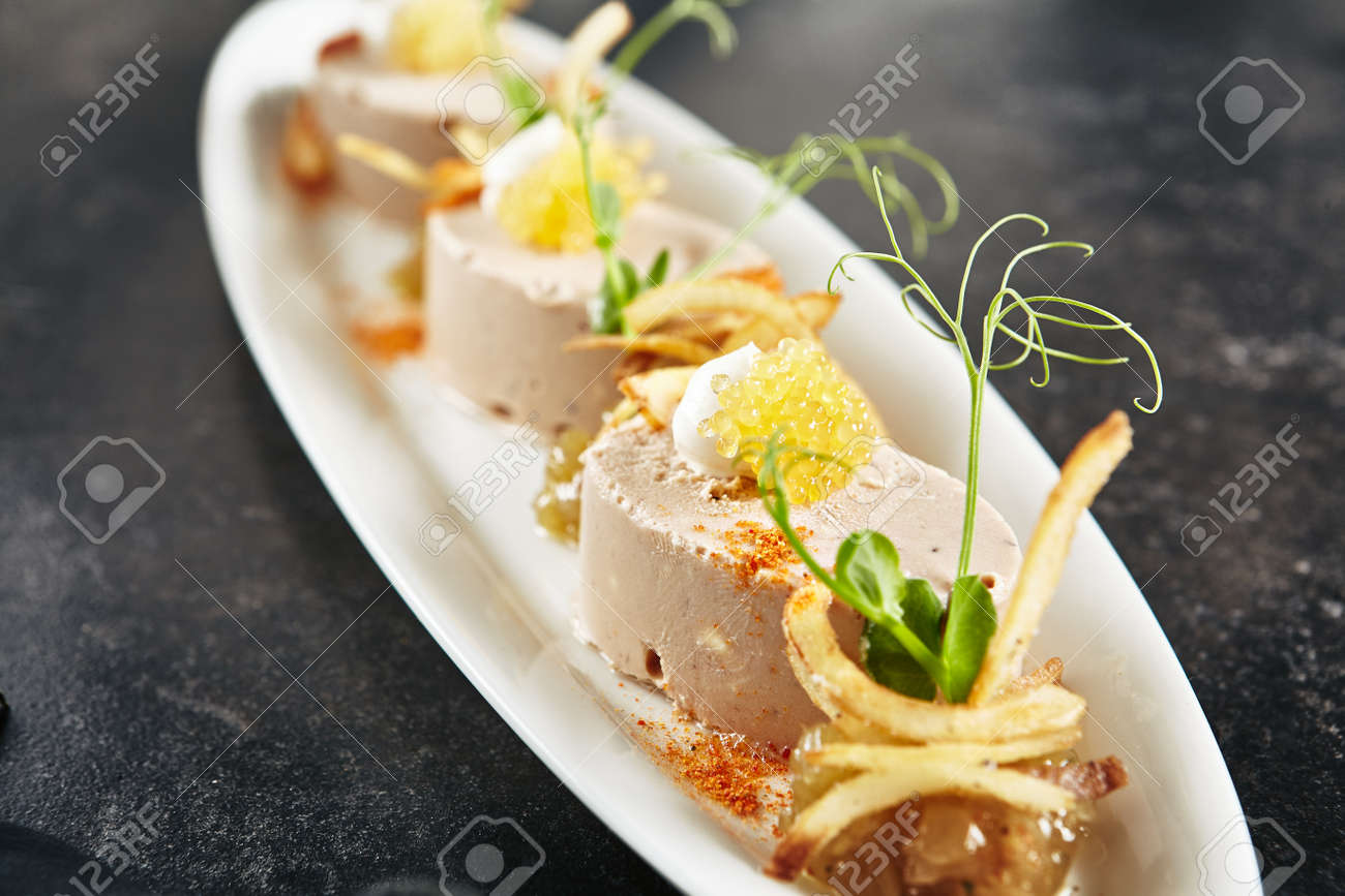 Exquisite Serving White Restaurant Plate With Mousse Of Cod Liver
