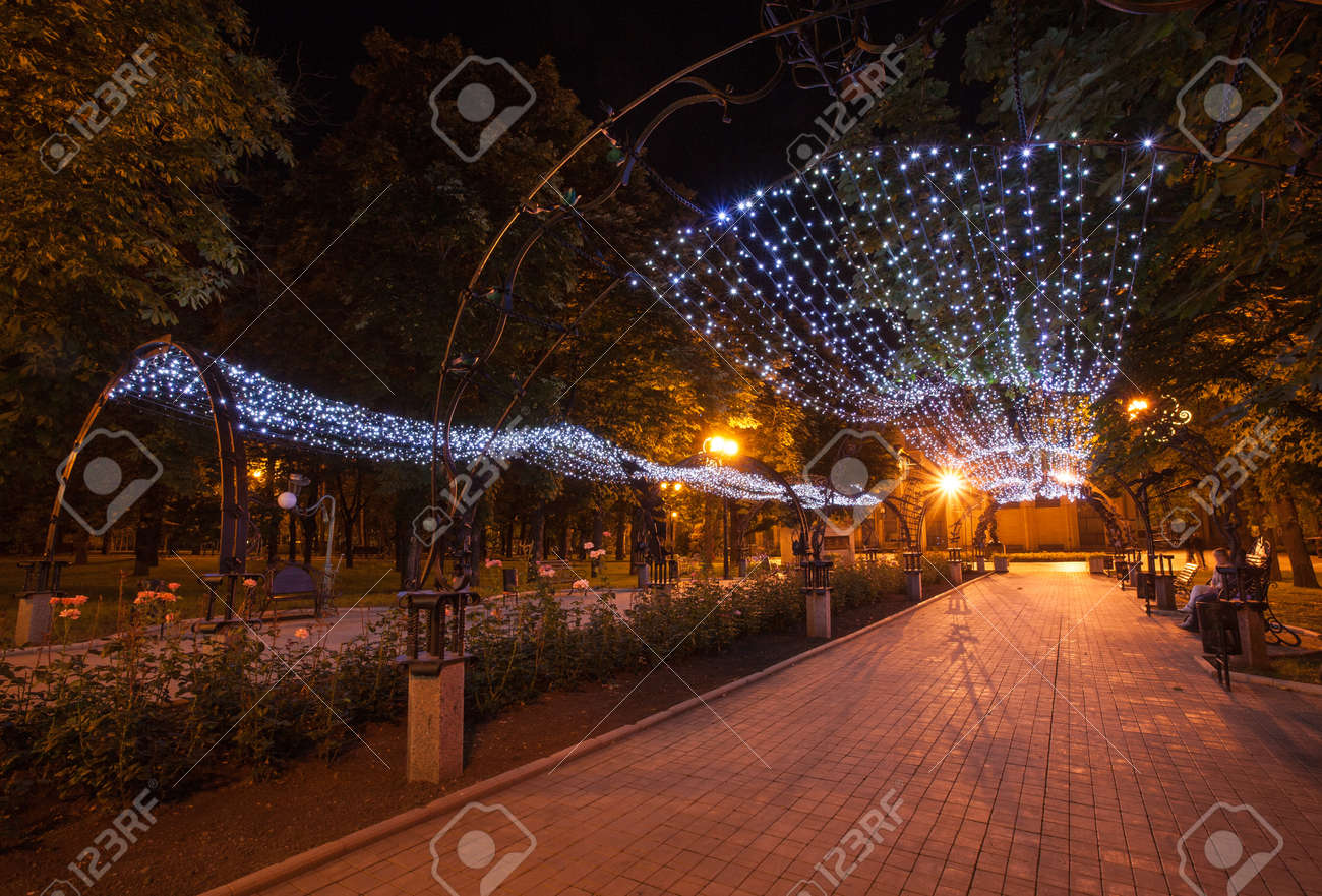 Night decorated alley in Donetsk city park Stock Photo - 19991533