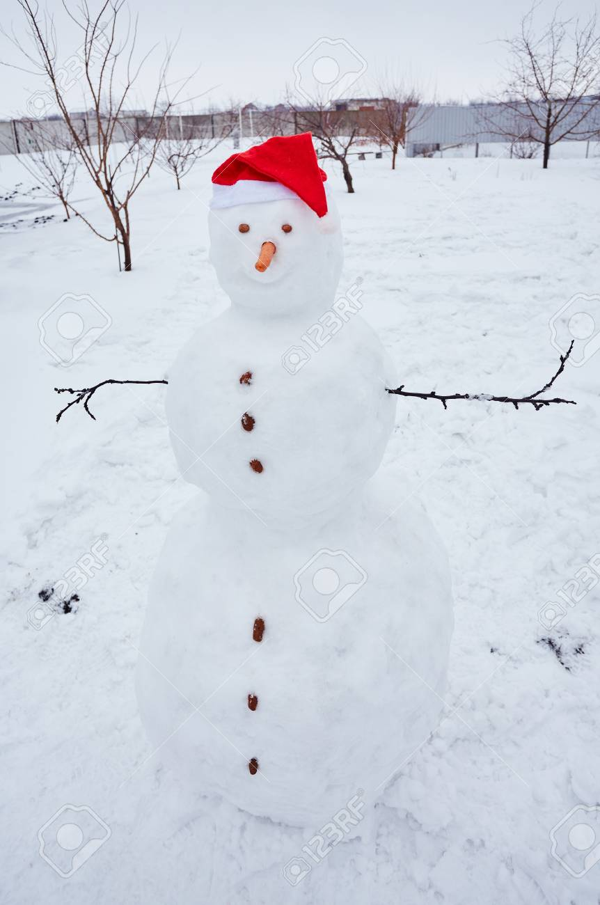 Real Snowman Outdoors In Winter White Scenery. Stock Photo, Picture And  Royalty Free Image. Image 47804757.