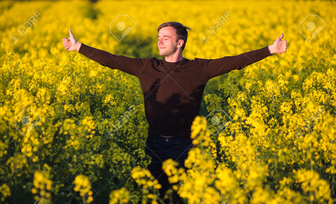 Young man in yellow canola field blowing his nose and suffering from pollen allergy. - 66588918