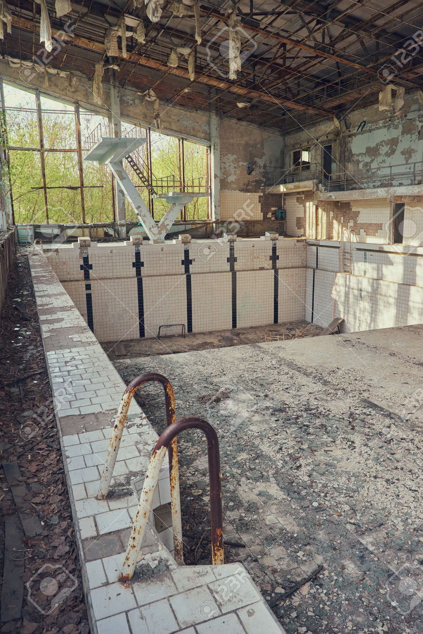 Abandoned Swimming Pool In Pripyat Destroyed Gym In A Radioactive Stock Photo Picture And Royalty Free Image Image 127819832