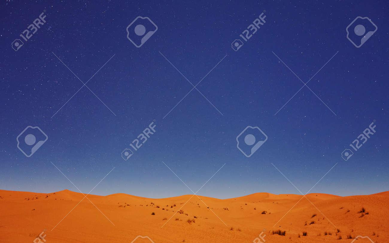 Stars at night over the dunes, Sahara Desert, Merzouga, Morocco - 169020198
