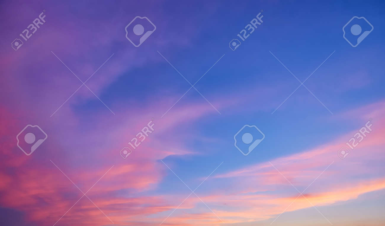 Abstract nature background. Dramatic and moody pink, purple and blue cloudy sunset sky - 169021417