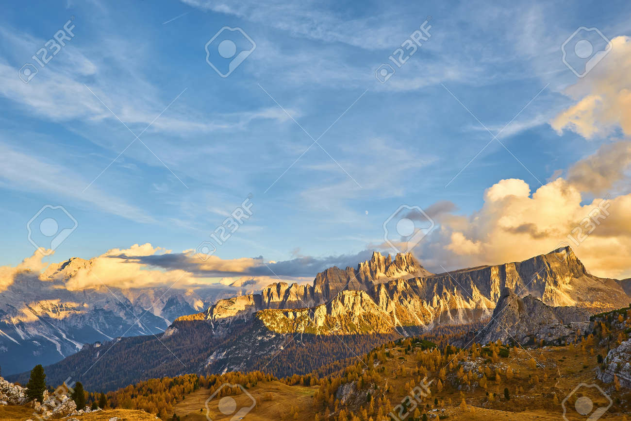Panorama of autumn pomagagnon peaks at Cortina d'Ampezzo, Dolomites, Italy, Colorful beautiful forest and rocks mountains. - 172022701