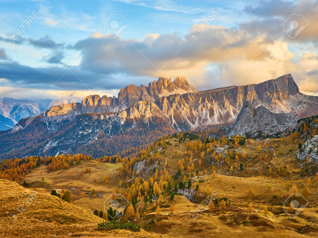 Panorama of autumn pomagagnon peaks at Cortina d'Ampezzo, Dolomites, Italy, Colorful beautiful forest and rocks mountains. - 172022702