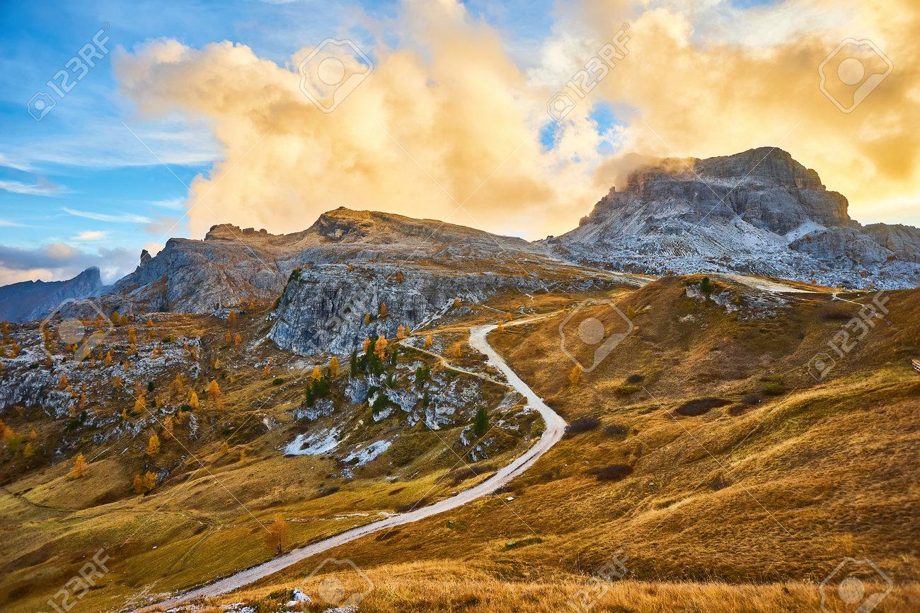 the beautiful Italian Dolomites an autumn day - 172022704