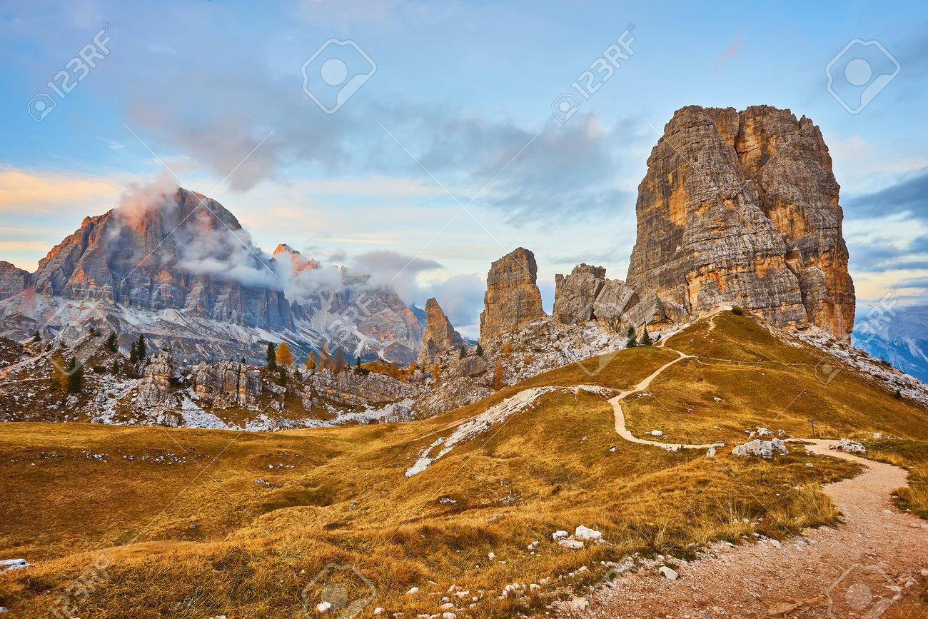 Alpine red autumn morning, Passo Falzarego, Cinque Torri, Tofana, Cortina d'Ampezzo, Belluno, Trento, Trento-Alto Adige, Dolomites Italy - 172022706